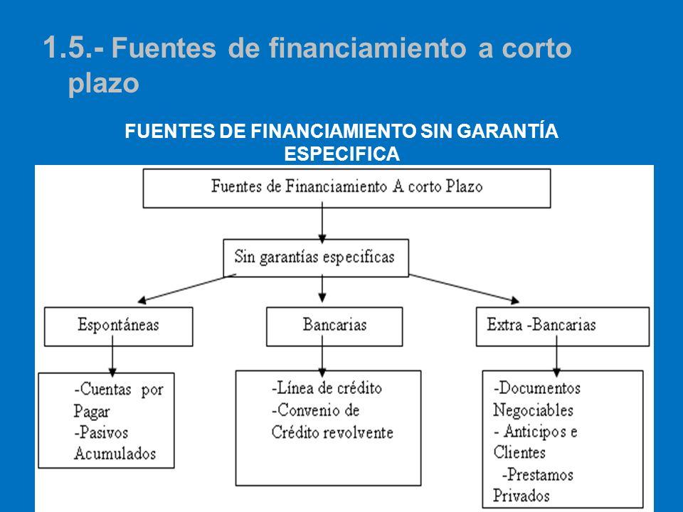 FUENTES DE FINANCIAMIENTO SIN GARANTÍA ESPECIFICA