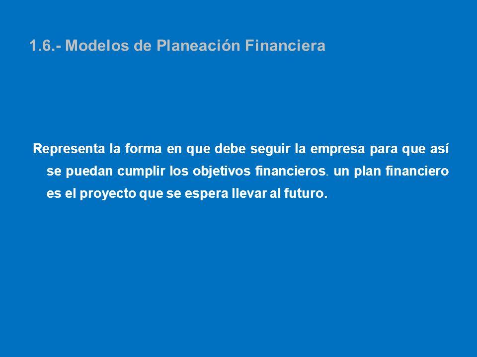 1.6.- Modelos de Planeación Financiera