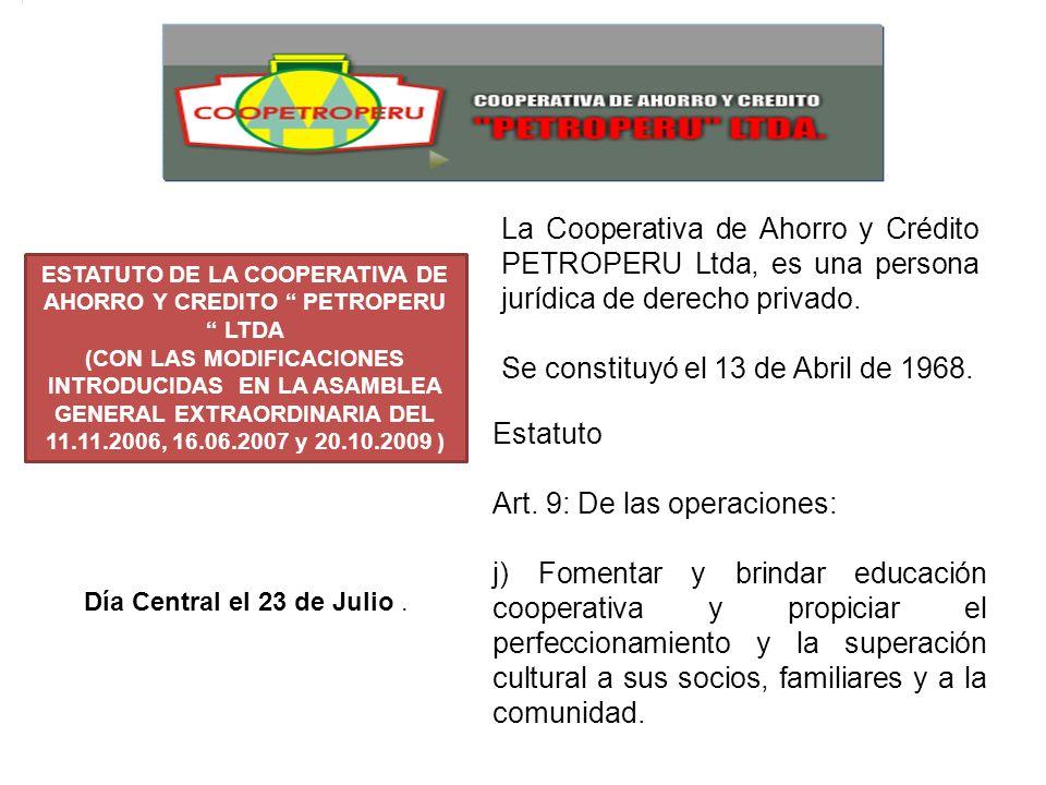ESTATUTO DE LA COOPERATIVA DE AHORRO Y CREDITO PETROPERU LTDA