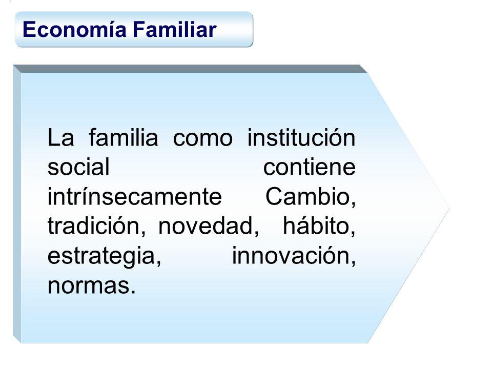 Economía Familiar La familia como institución social contiene intrínsecamente Cambio, tradición, novedad, hábito, estrategia, innovación, normas.