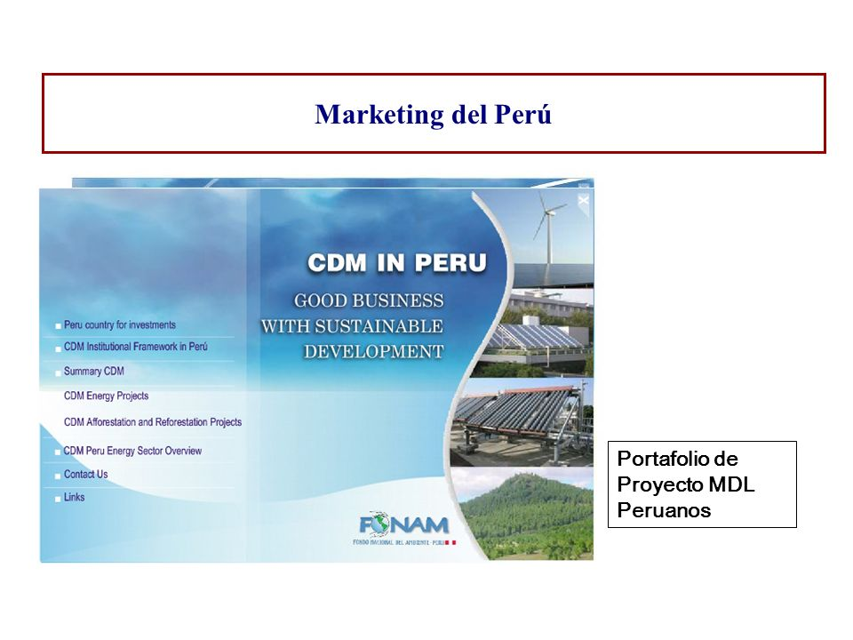 Marketing del Perú Portafolio de Proyecto MDL Peruanos