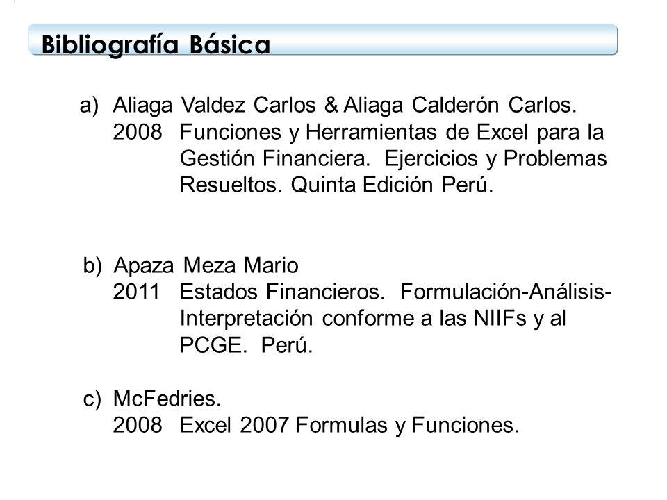 Bibliografía Básica Aliaga Valdez Carlos & Aliaga Calderón Carlos.