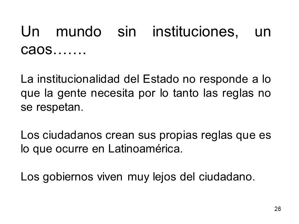 Un mundo sin instituciones, un caos…….