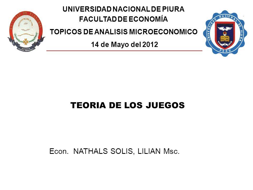 UNIVERSIDAD NACIONAL DE PIURA TOPICOS DE ANALISIS MICROECONOMICO
