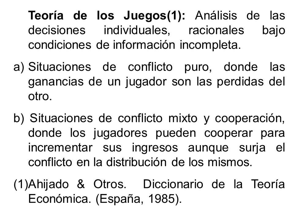 Teoría de los Juegos(1): Análisis de las decisiones individuales, racionales bajo condiciones de información incompleta.