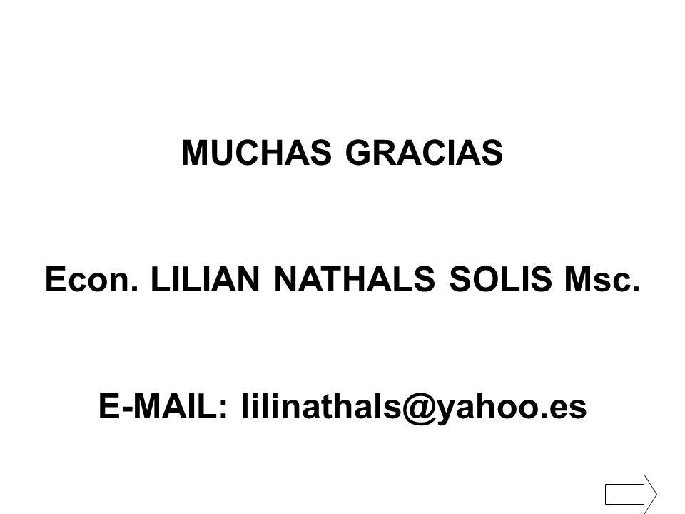 Econ. LILIAN NATHALS SOLIS Msc. E-MAIL: lilinathals@yahoo.es