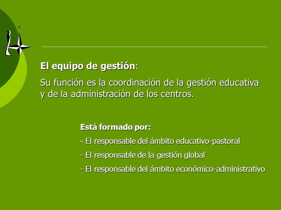 El equipo de gestión:Su función es la coordinación de la gestión educativa y de la administración de los centros.