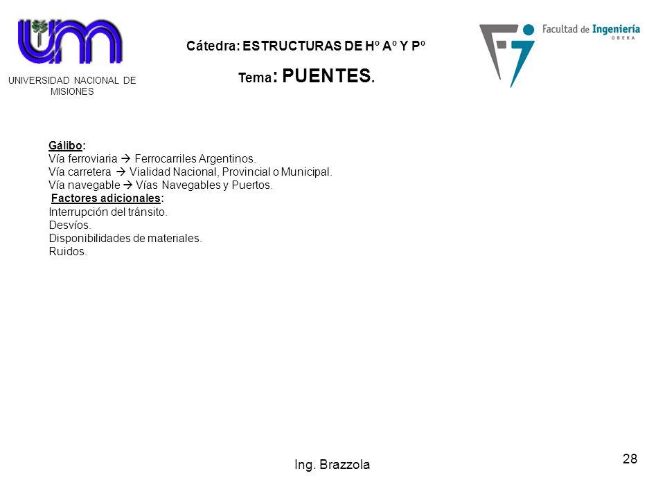 Ing. Brazzola Gálibo: Vía ferroviaria  Ferrocarriles Argentinos.