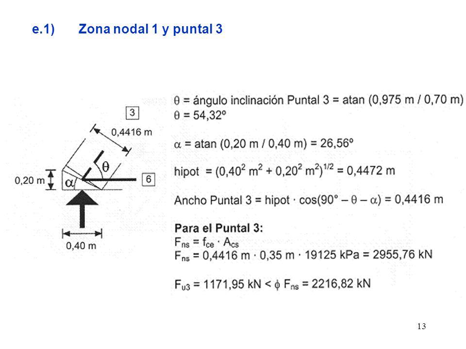 e.1) Zona nodal 1 y puntal 3