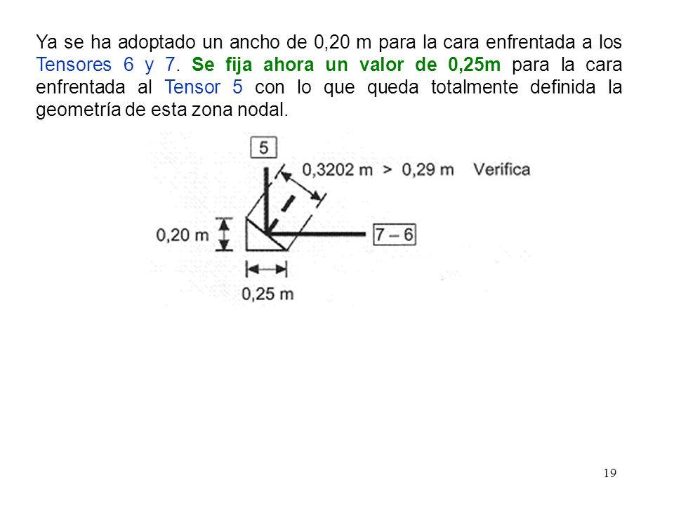 Ya se ha adoptado un ancho de 0,20 m para la cara enfrentada a los Tensores 6 y 7.