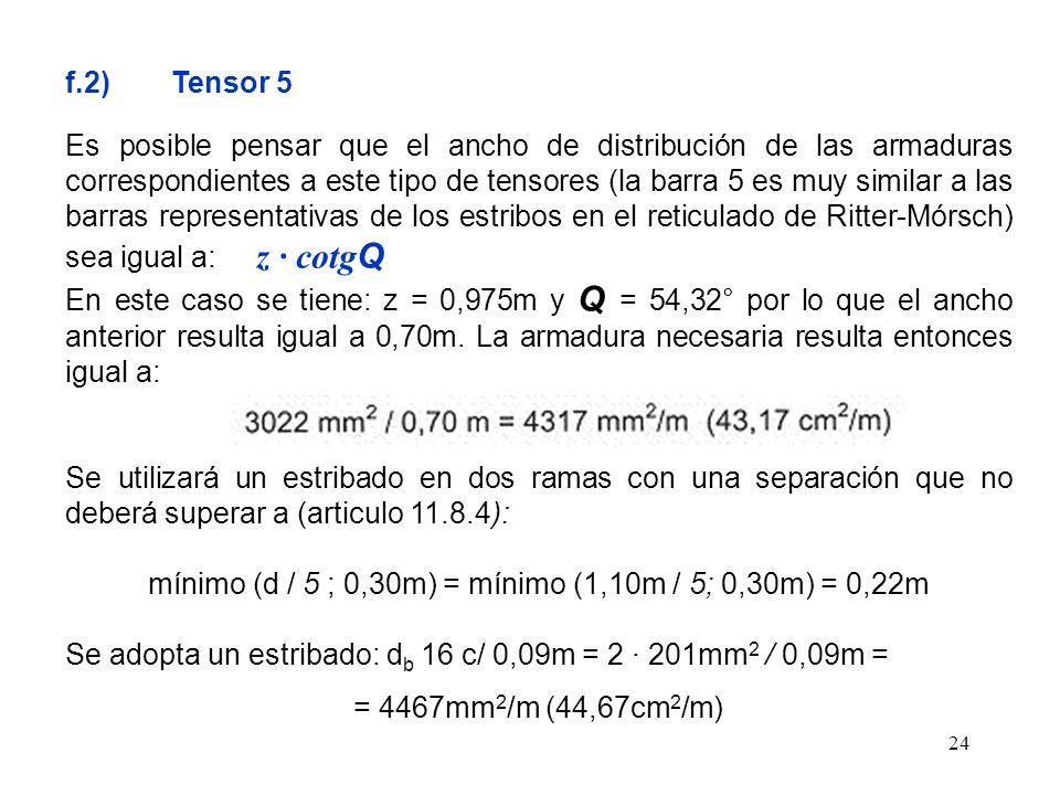 mínimo (d / 5 ; 0,30m) = mínimo (1,10m / 5; 0,30m) = 0,22m