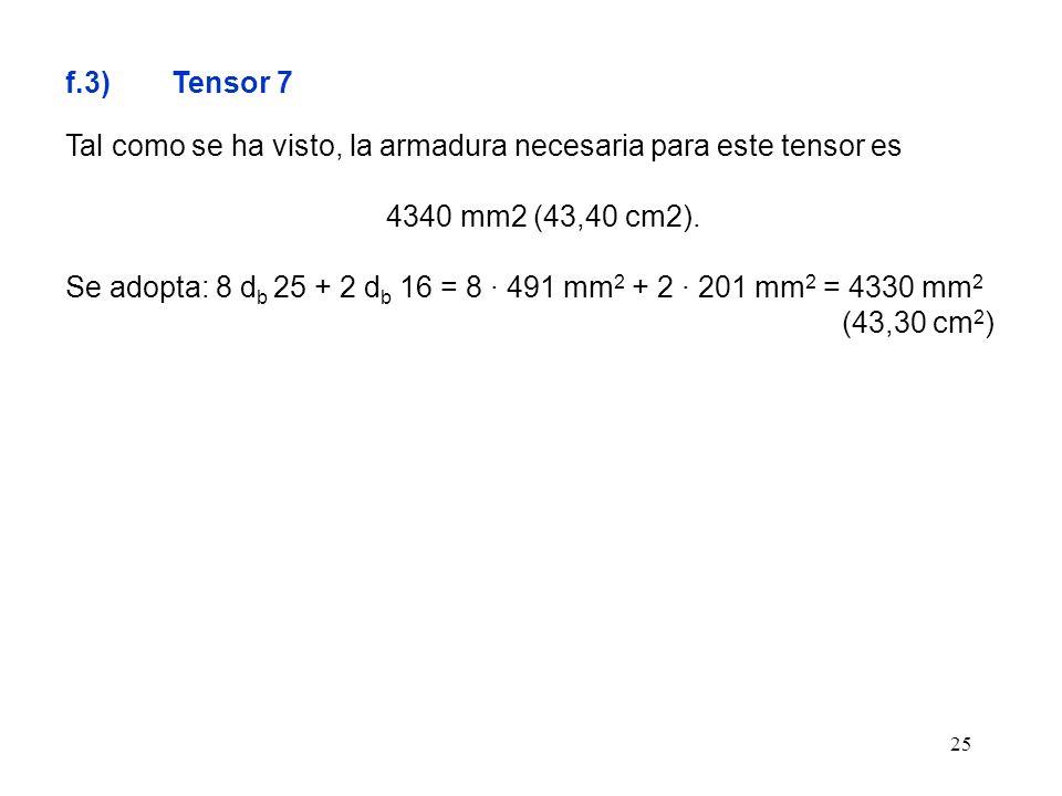 f.3) Tensor 7 Tal como se ha visto, la armadura necesaria para este tensor es. 4340 mm2 (43,40 cm2).