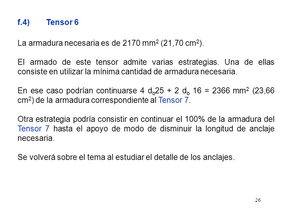 f.4) Tensor 6 La armadura necesaria es de 2170 mm2 (21,70 cm2).