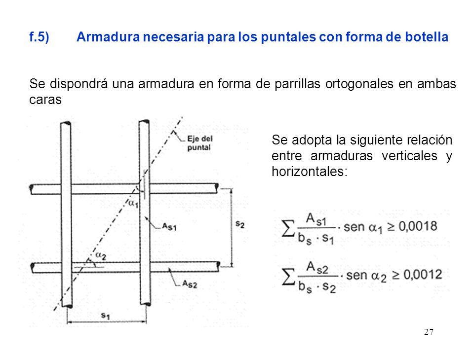 f.5) Armadura necesaria para los puntales con forma de botella