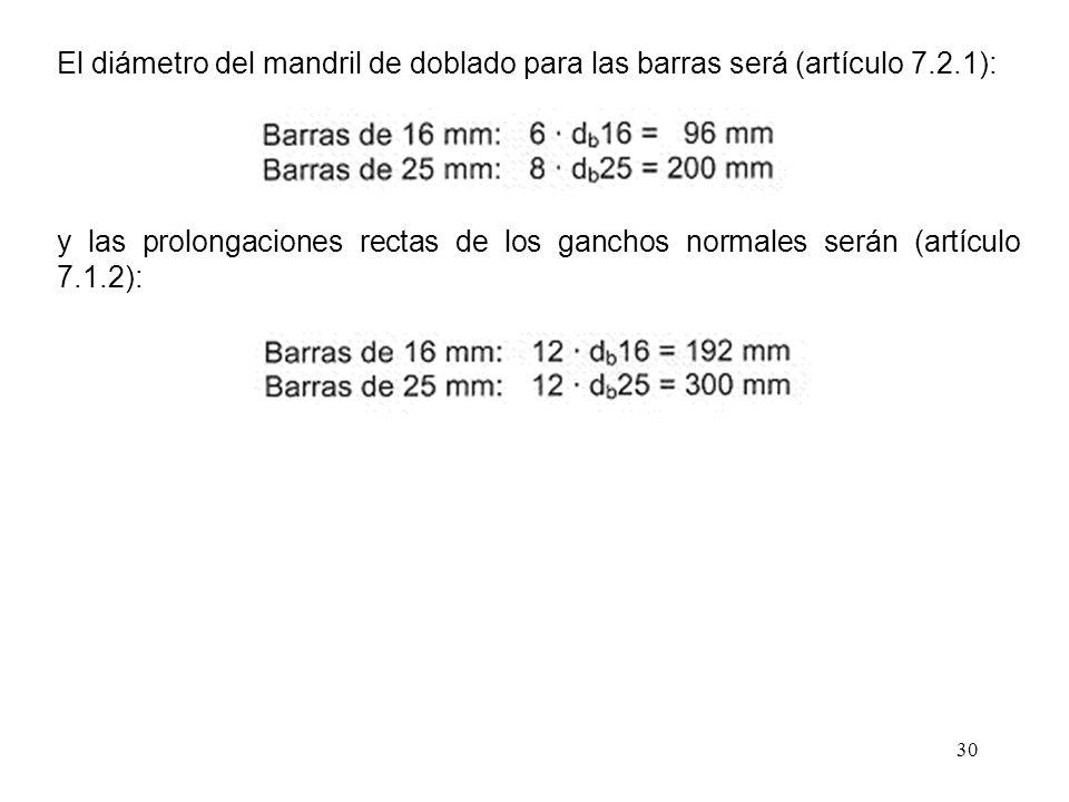 El diámetro del mandril de doblado para las barras será (artículo 7. 2