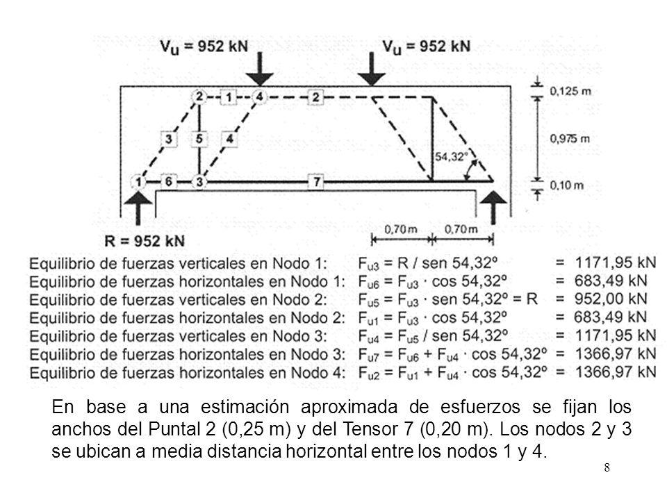 En base a una estimación aproximada de esfuerzos se fijan los anchos del Puntal 2 (0,25 m) y del Tensor 7 (0,20 m).