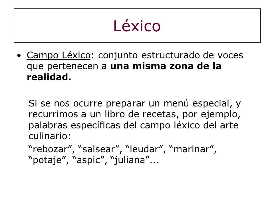Léxico Campo Léxico: conjunto estructurado de voces que pertenecen a una misma zona de la realidad.