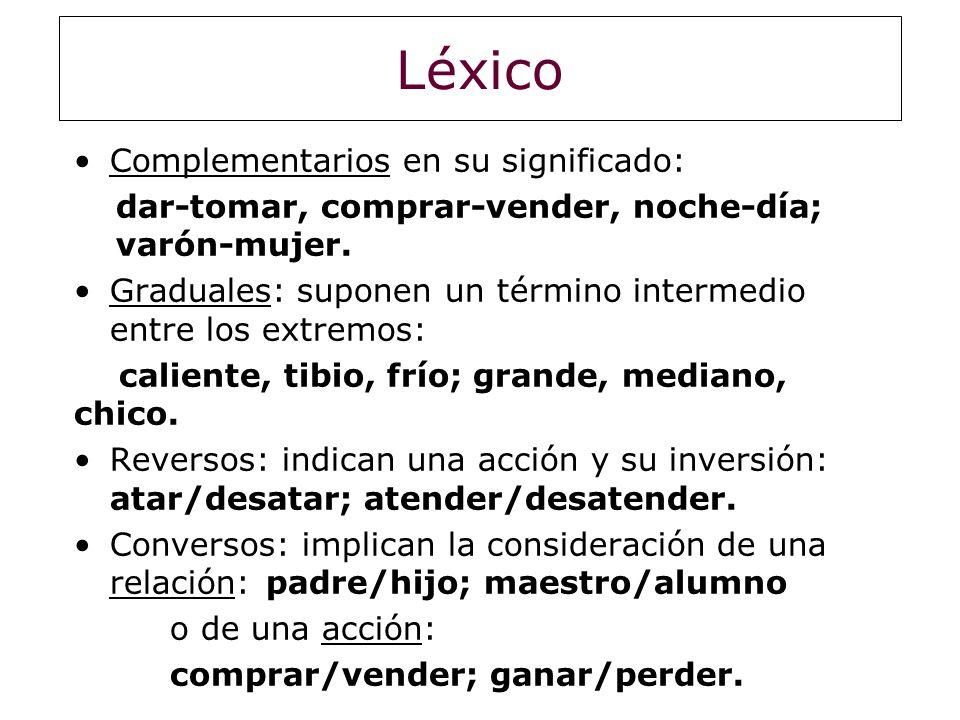 Léxico Complementarios en su significado: