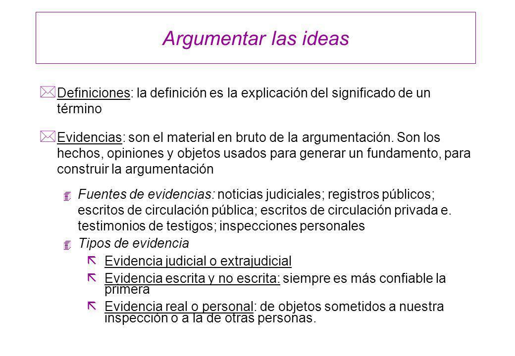 Argumentar las ideasDefiniciones: la definición es la explicación del significado de un término.