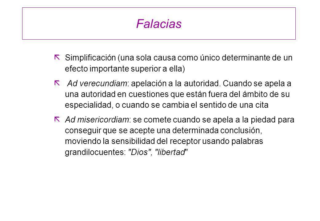 FalaciasSimplificación (una sola causa como único determinante de un efecto importante superior a ella)