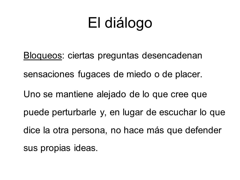 El diálogo Bloqueos: ciertas preguntas desencadenan sensaciones fugaces de miedo o de placer.
