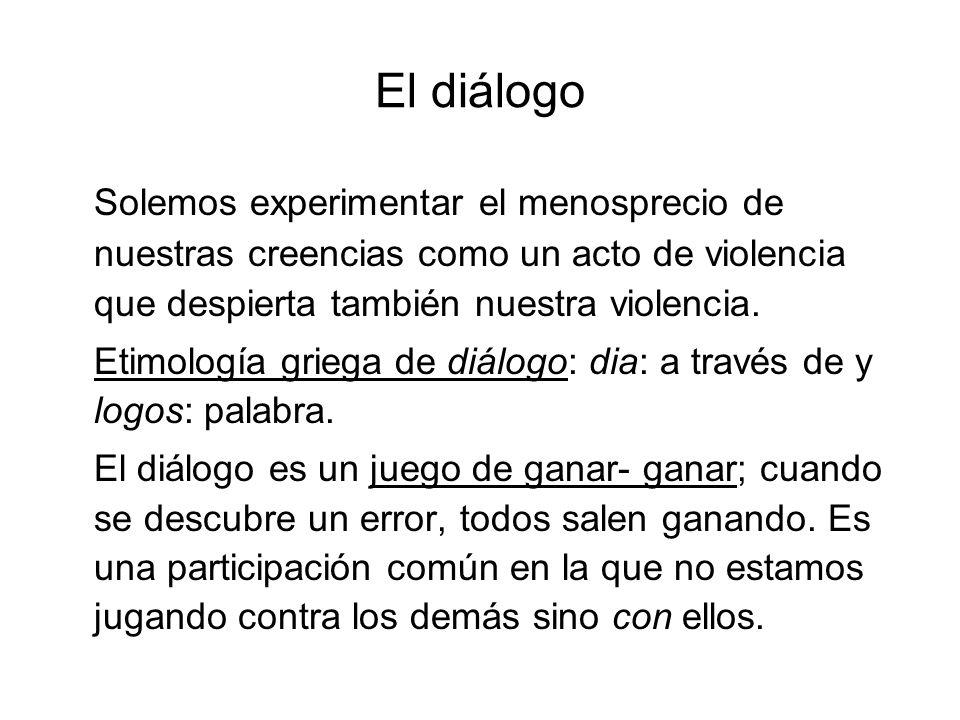 El diálogo Solemos experimentar el menosprecio de nuestras creencias como un acto de violencia que despierta también nuestra violencia.