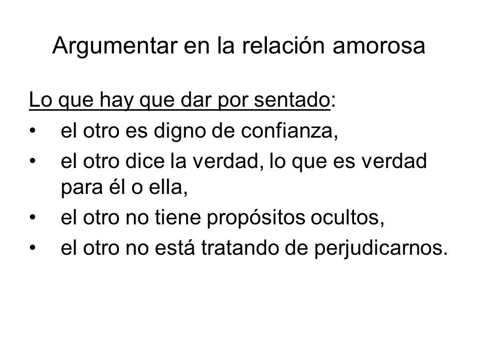 Argumentar en la relación amorosa