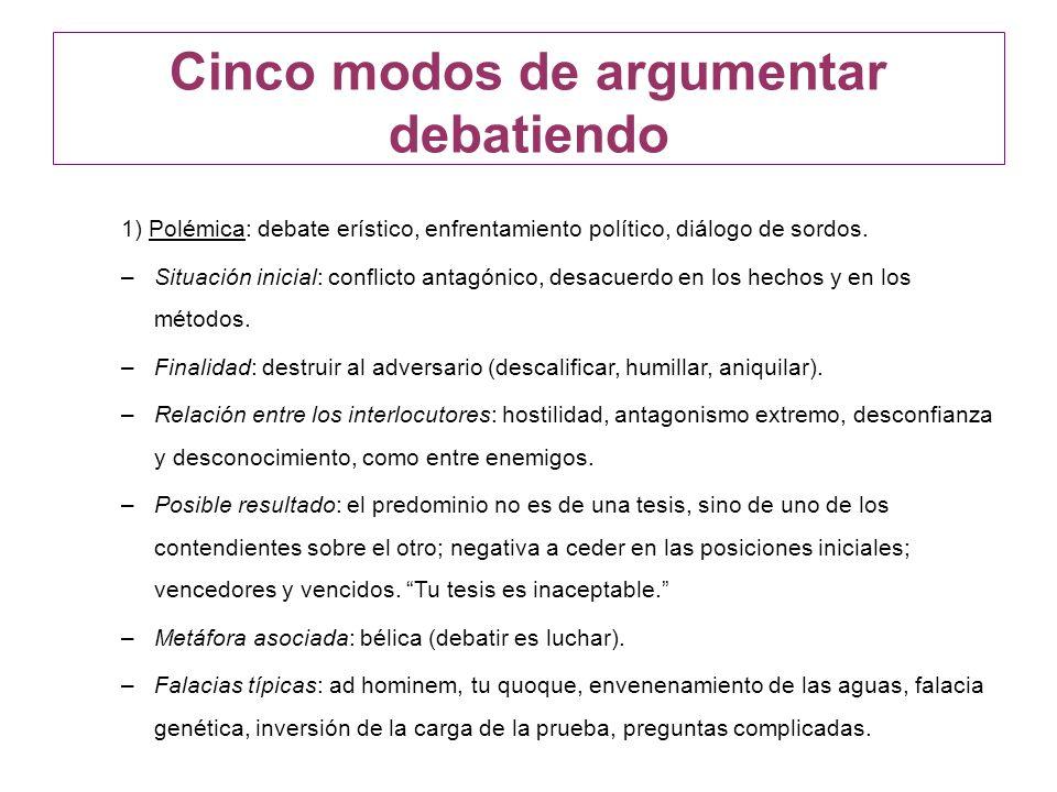 Cinco modos de argumentar debatiendo