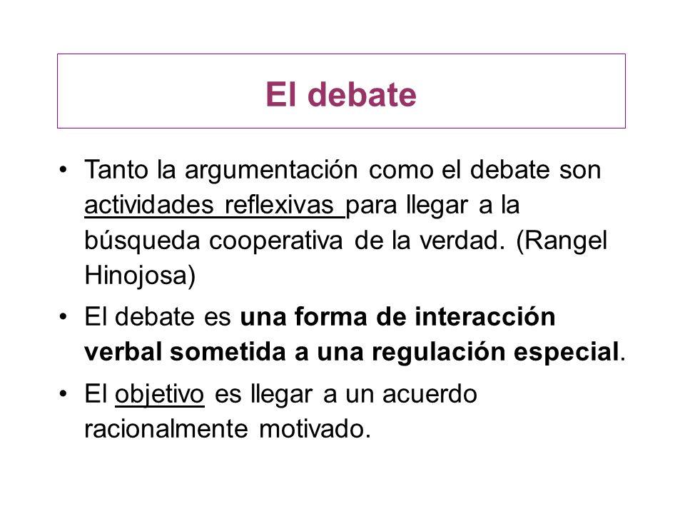 El debate Tanto la argumentación como el debate son actividades reflexivas para llegar a la búsqueda cooperativa de la verdad. (Rangel Hinojosa)