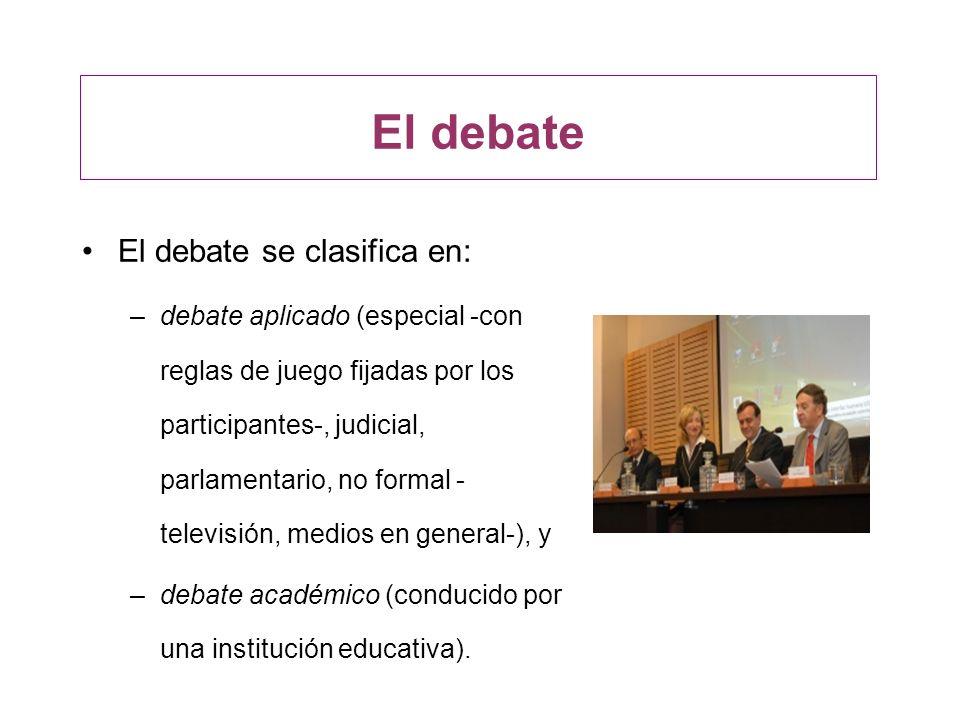 El debate El debate se clasifica en: