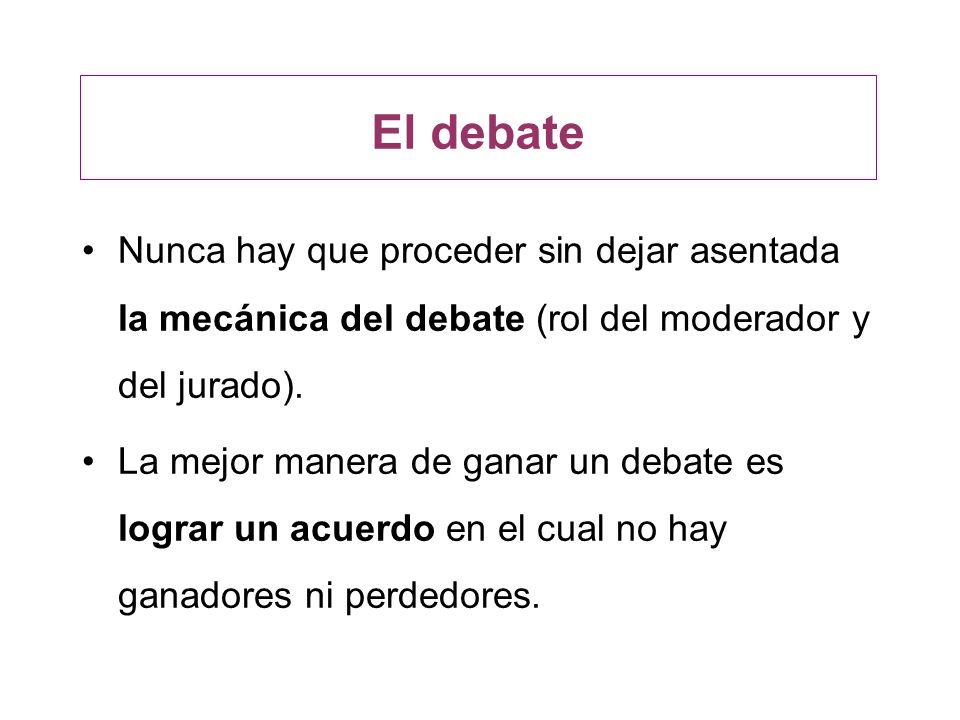El debateNunca hay que proceder sin dejar asentada la mecánica del debate (rol del moderador y del jurado).