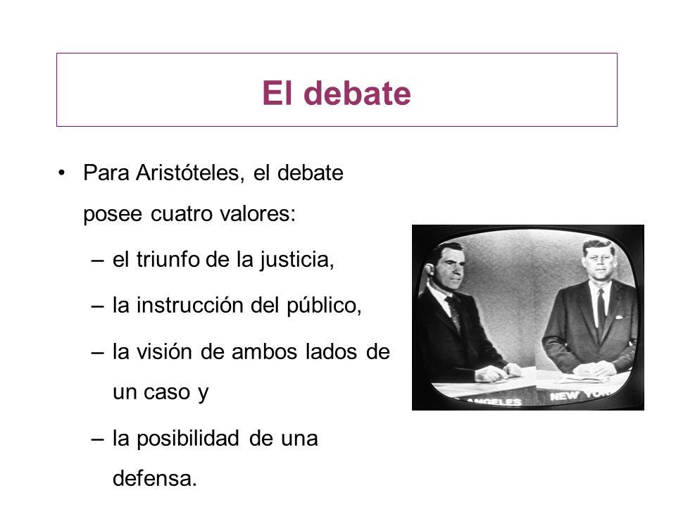 El debate Para Aristóteles, el debate posee cuatro valores: