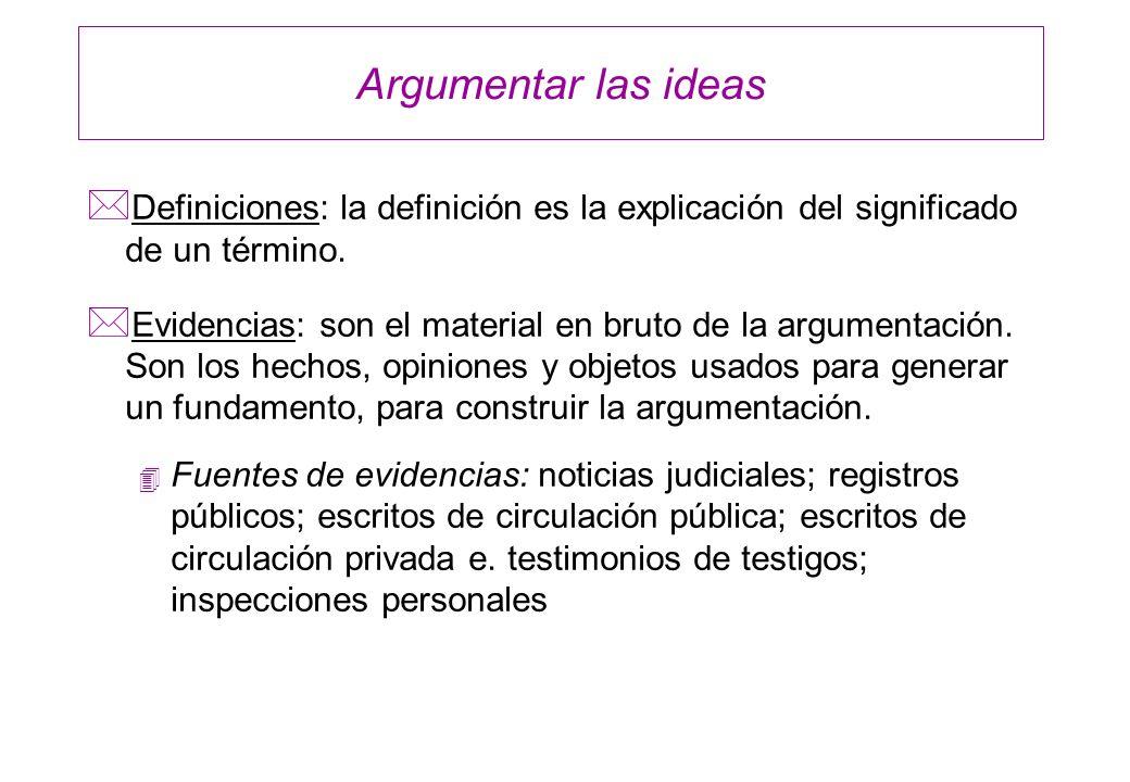 Argumentar las ideas Definiciones: la definición es la explicación del significado de un término.