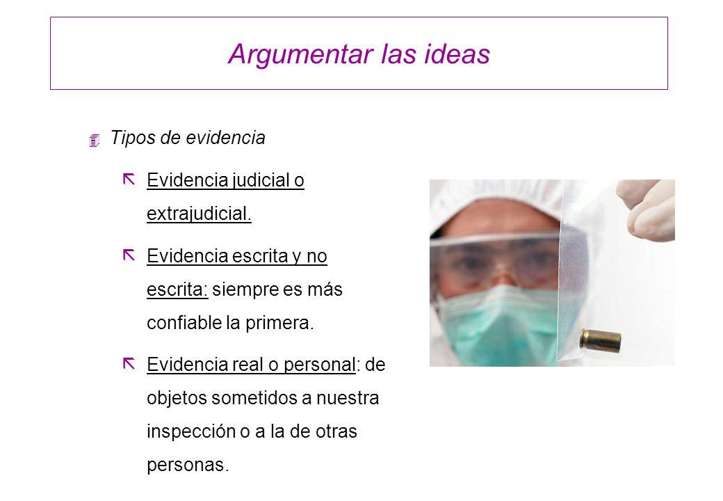 Argumentar las ideas Tipos de evidencia