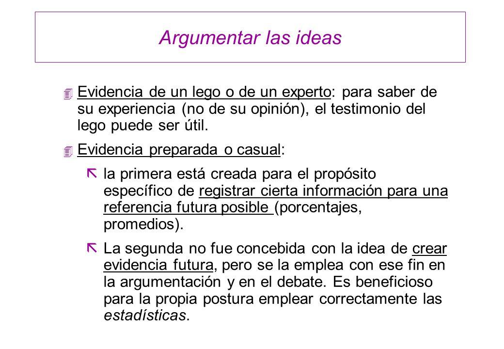 Argumentar las ideas Evidencia de un lego o de un experto: para saber de su experiencia (no de su opinión), el testimonio del lego puede ser útil.