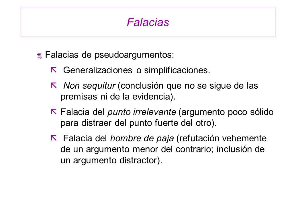 Falacias Falacias de pseudoargumentos: