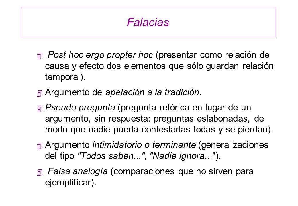 Falacias Post hoc ergo propter hoc (presentar como relación de causa y efecto dos elementos que sólo guardan relación temporal).