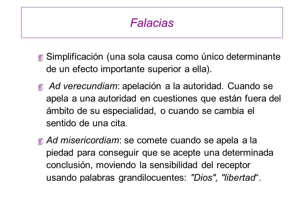 Falacias Simplificación (una sola causa como único determinante de un efecto importante superior a ella).