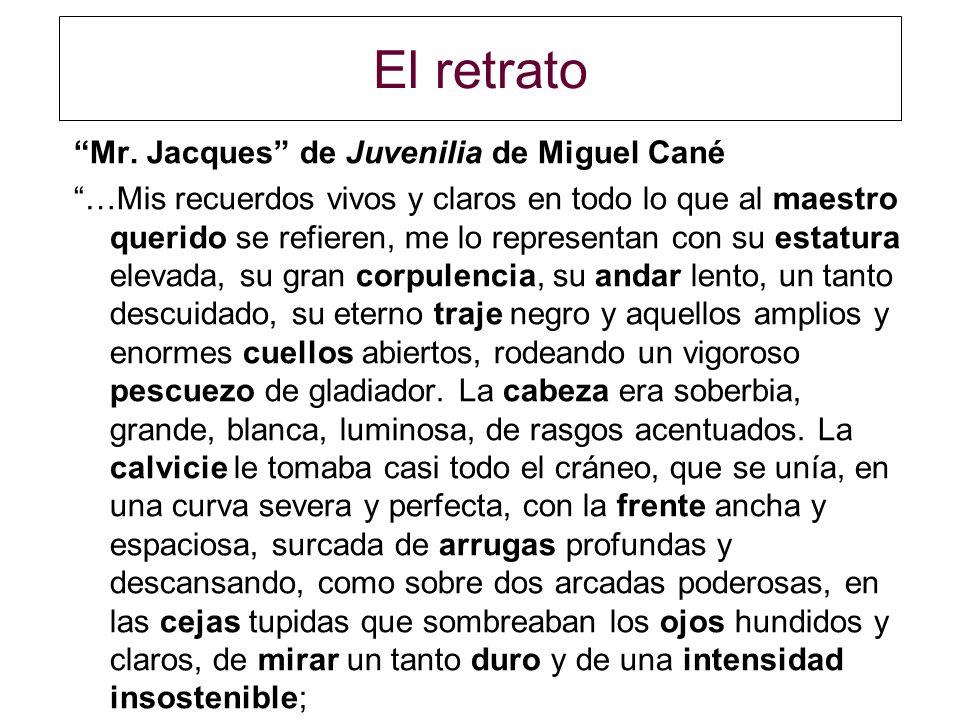 El retrato Mr. Jacques de Juvenilia de Miguel Cané