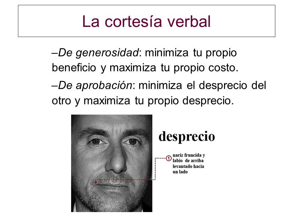 La cortesía verbal De generosidad: minimiza tu propio beneficio y maximiza tu propio costo.