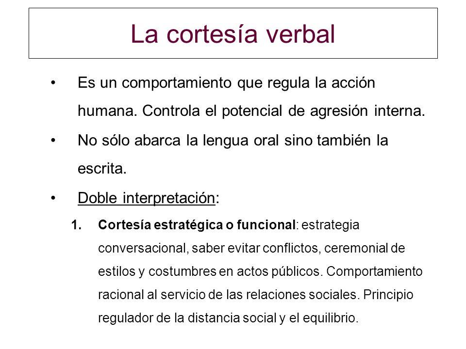 La cortesía verbal Es un comportamiento que regula la acción humana. Controla el potencial de agresión interna.