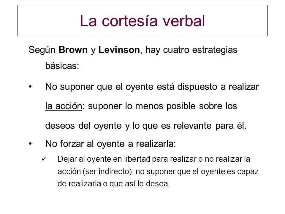 La cortesía verbal Según Brown y Levinson, hay cuatro estrategias básicas: