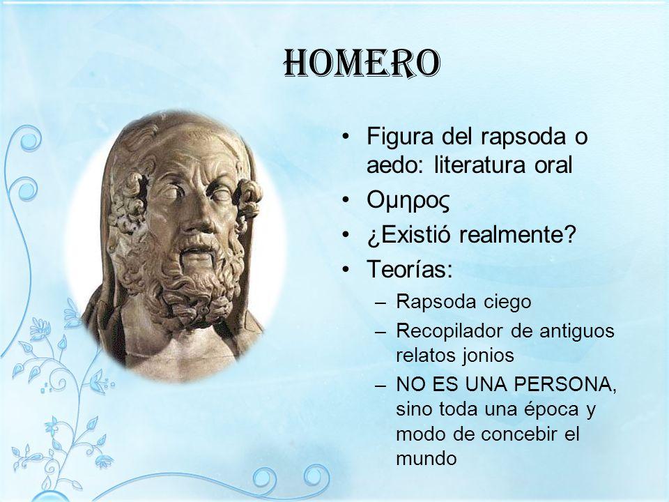 homero Figura del rapsoda o aedo: literatura oral Oμηρος