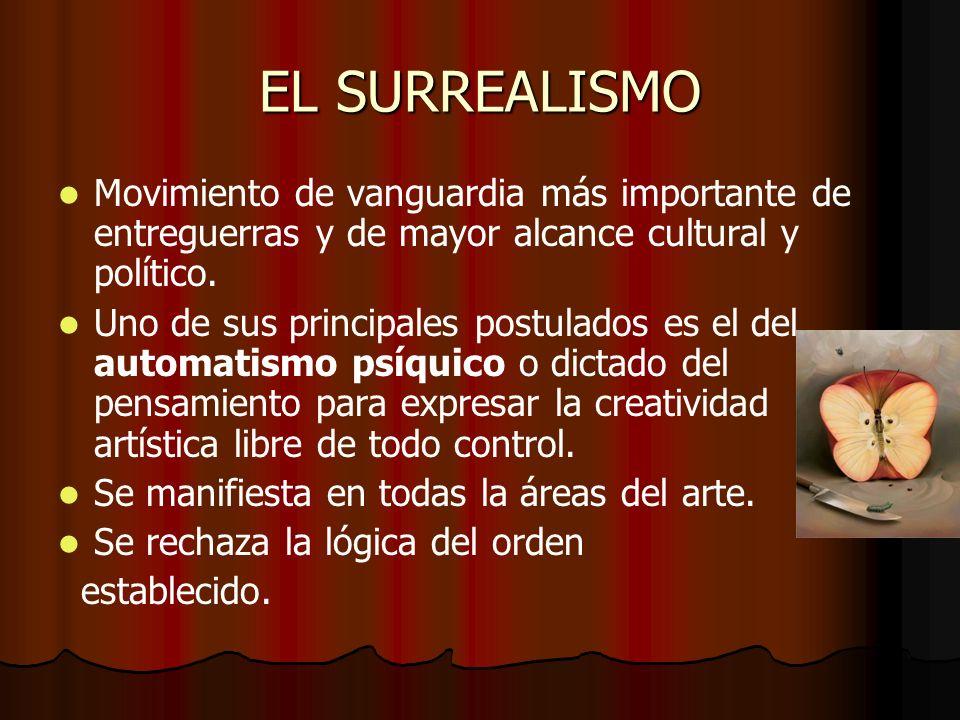 EL SURREALISMO Movimiento de vanguardia más importante de entreguerras y de mayor alcance cultural y político.