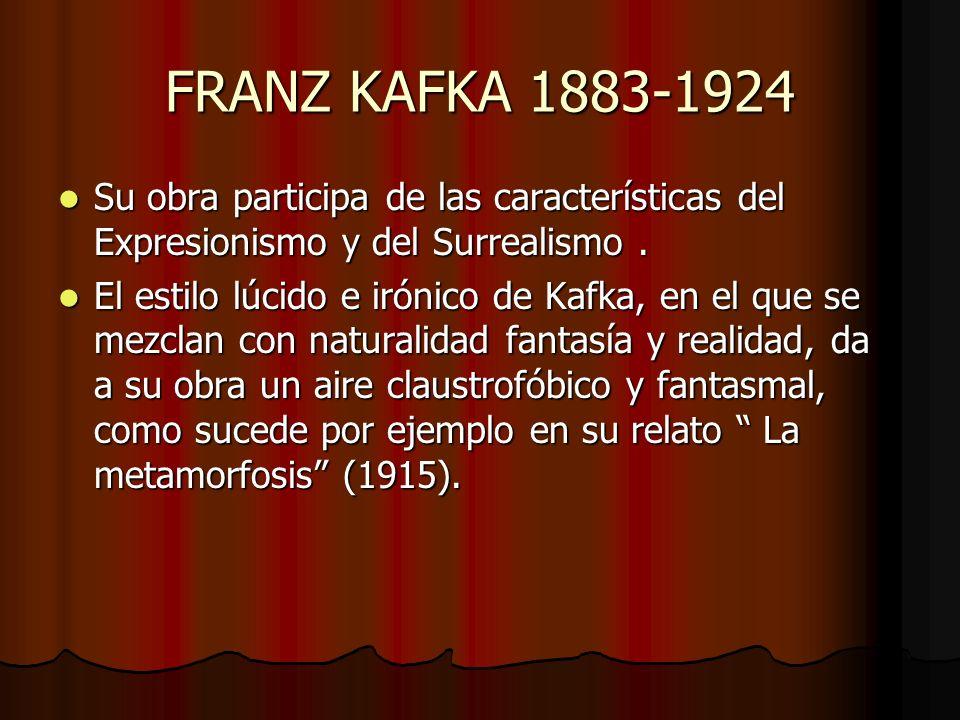 FRANZ KAFKA 1883-1924 Su obra participa de las características del Expresionismo y del Surrealismo .