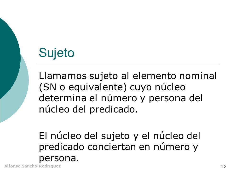 Sujeto Llamamos sujeto al elemento nominal (SN o equivalente) cuyo núcleo determina el número y persona del núcleo del predicado.