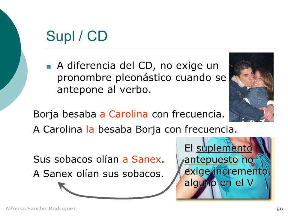 Supl / CD A diferencia del CD, no exige un pronombre pleonástico cuando se antepone al verbo. Borja besaba a Carolina con frecuencia.