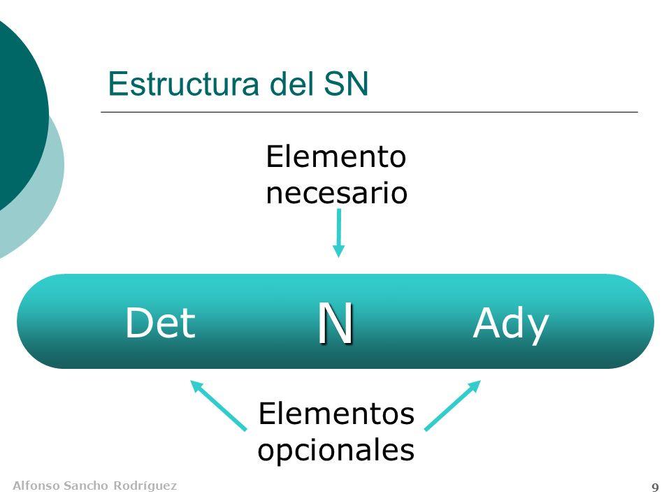 Estructura del SN Elemento necesario Det N Ady Elementos opcionales