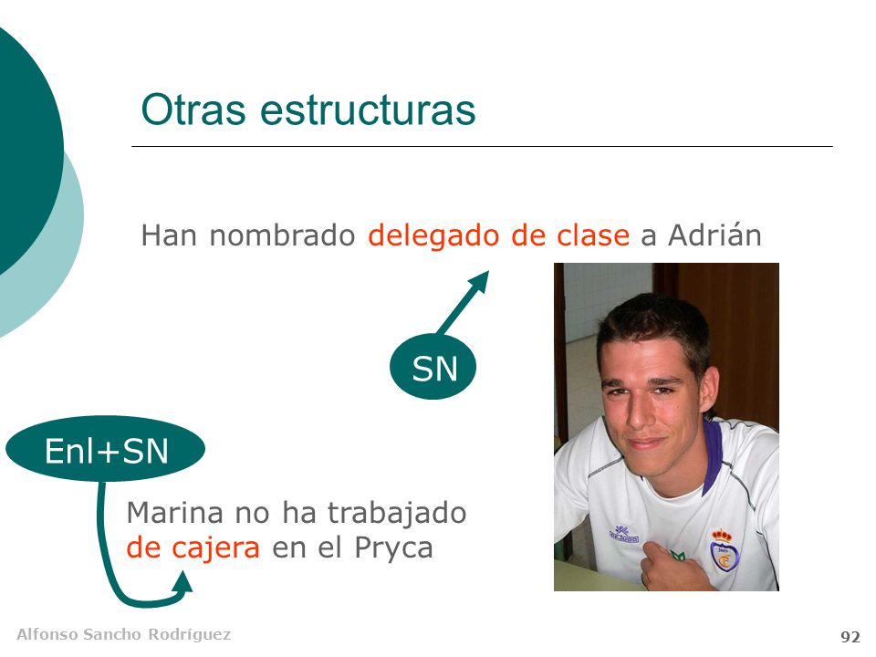 Otras estructuras SN Enl+SN Han nombrado delegado de clase a Adrián