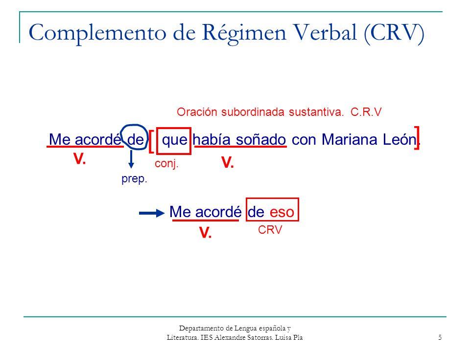 Complemento de Régimen Verbal (CRV)